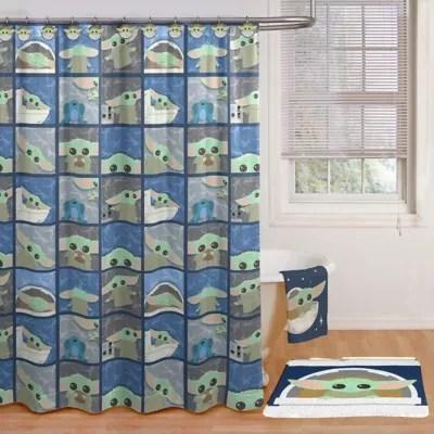 star wars 70 inch x 72 inch baby yoda shower curtain and hook set