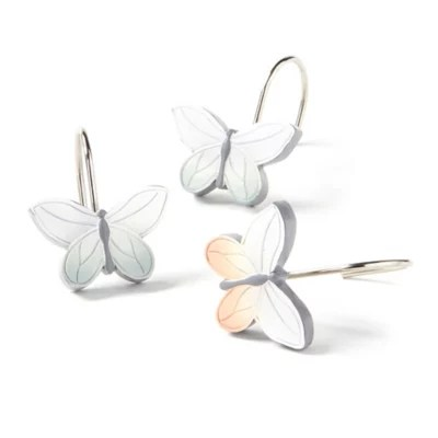 new hope butterfly shower curtain hooks set of 12