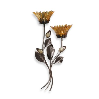 Mikasa® 17-Inch Amber Flower Wall Sconce | Bed Bath & Beyond on Flower Wall Sconces id=74147