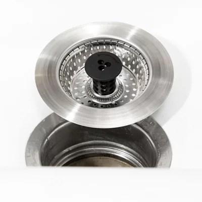 polder pop up silicone sink strainer stopper in grey