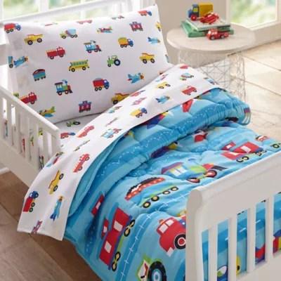 fire truck 5 piece twin comforter set in blue