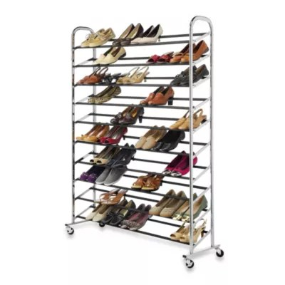 60 pair rolling shoe rack in chrome