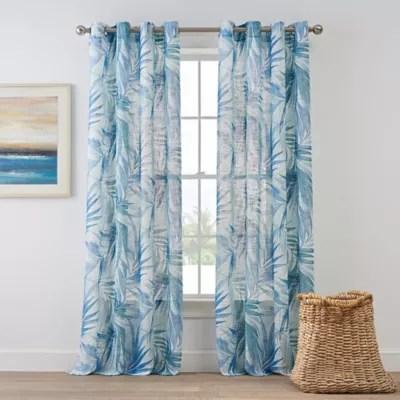 Coastal Living Palm Leaf Grommet Panel In Blue Bed Bath Amp Beyond