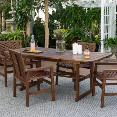 forest gate olive 5 piece outdoor acacia extendable table dining set