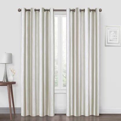 bed bath beyond quinn stripe 108 inch grommet blackout window curtain panel in natural from bed bath beyond daily mail