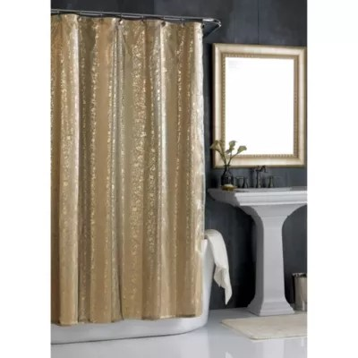 sheer bliss shower curtain in gold