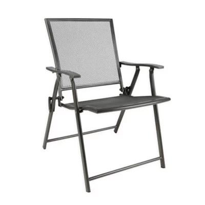 folding mesh patio chair in black