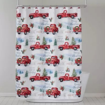 holiday trucks shower curtain and hooks set in red