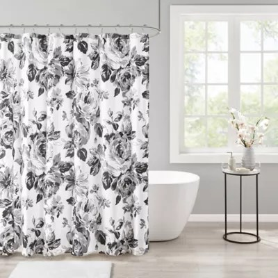 black and white fabric shower curtains