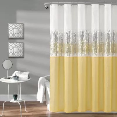 yellow and grey shower curtains bed