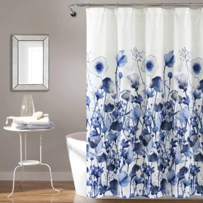 blue and white shower curtain bed