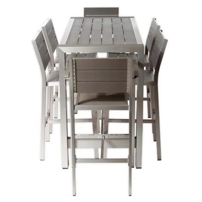pangea home betty 7 piece outdoor bar table set in grey