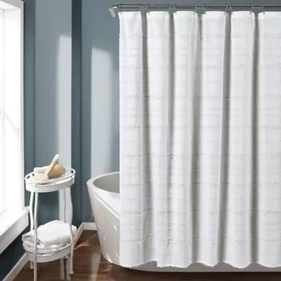 white farmhouse shower curtain bed