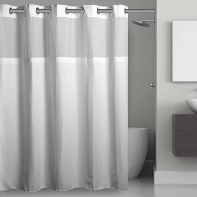 hookless waffle fabric shower curtain and snap in liner set