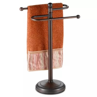 curved hand towel tree in oil rubbed