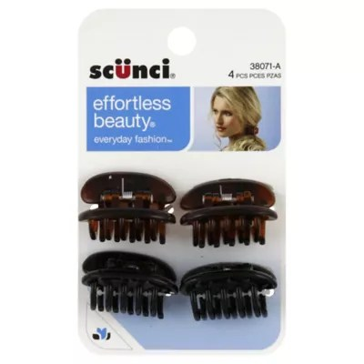 Scunci 4 Count Jaw Clip Flat Top Hair Clip Bed Bath
