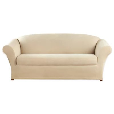 sure fit stretch oxford 2 piece sofa slipcover in cream