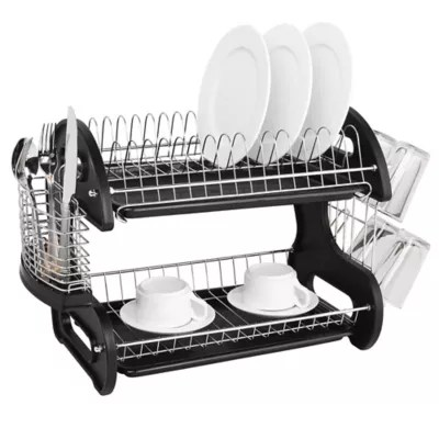 home basics 2 tier dish drainer bed
