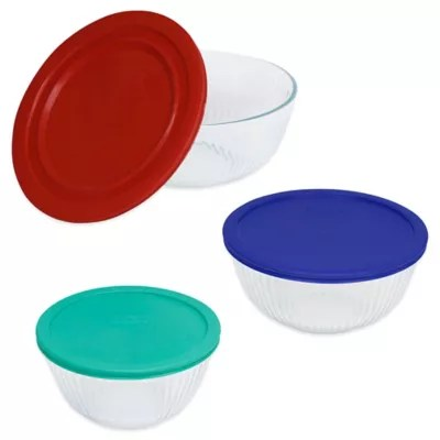 pyrex 3 piece glass mixing bowls with