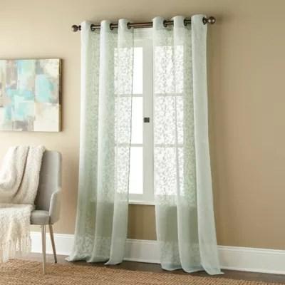 sage green sheer curtain panels bed