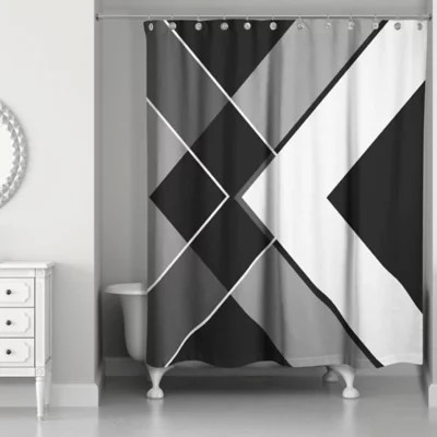 asymmetrical angles shower curtain in black white bed bath beyond
