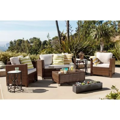 Abbyson Living® Hampton 4-Piece Outdoor Wicker Sofa Set ... on Outdoor Living Wicker  id=66942