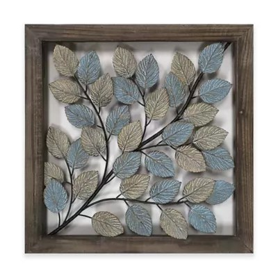 Metal Wall Art   Metal Wall Decor   Bed Bath   Beyond Leaves Metal Wall Art in Blue   Cream