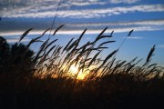 Sunset while wild camping on a hill in Essex before the ferry.