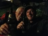 Drinking with a policeman in Passau, Germany.
