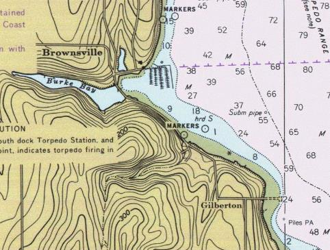 NOAA map section showing Brownsville and Gilberton.