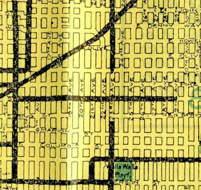 Snippet of 1914 Seattle map, showing streetcar service on Union Street to 29th.