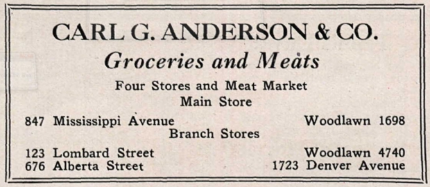 Ad for C. G. Anderson & Co from the 1922 yearbook of Portland's Jefferson High, page 173.