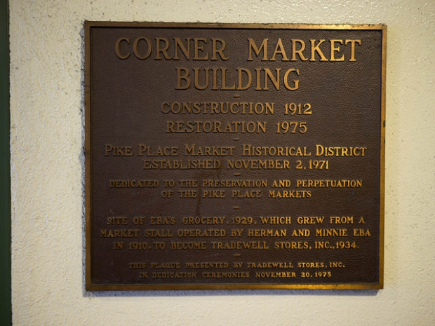 Plaque at Corner Market installed to celebrate renovation (Photo by author; larger on Flickr)