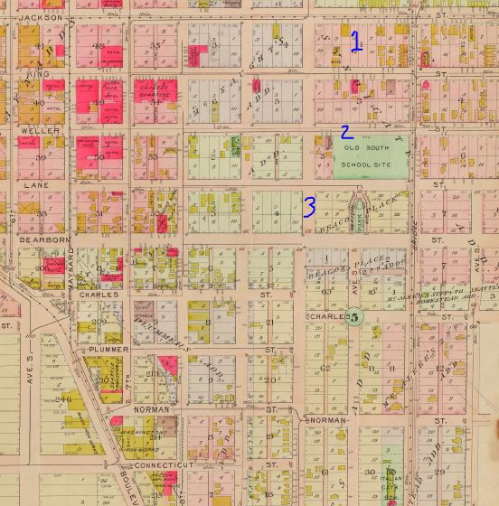 Zoom of 1912 Baist map from Paul Dorpat.