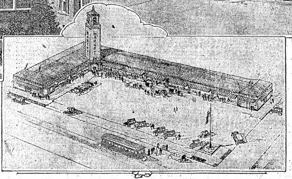 Westlake Drive-In Market architect's rendering (September 8, 1929 Seattle Times)