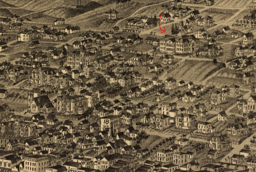 School seen in bird's eye map of Seattle, 1884