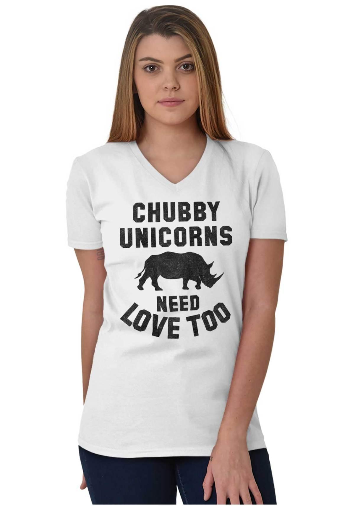 Download Chubby Unicorns Need Love Endangered Rhinos V-Neck T ...