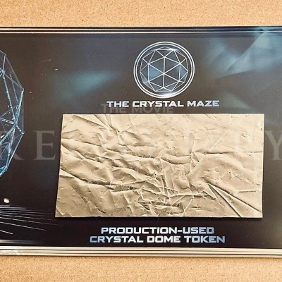 PRODUCTION USED - CRYSTAL MAZE - SILVER DOME TOKEN FOIL- LARGE DISPLAY