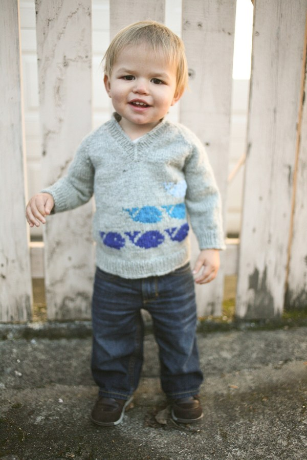 Joshy modeling the Whale Sweater
