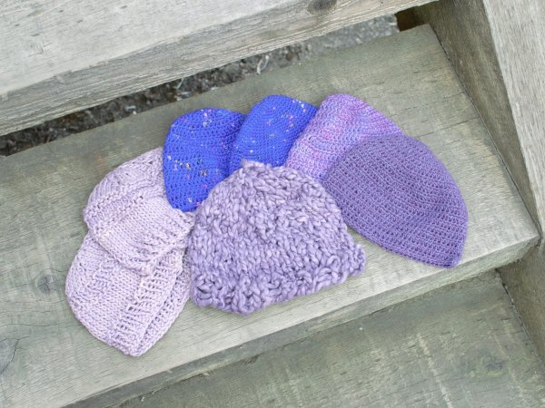Purple Cap Campaign donations collected at Baaad Anna's Yarn Store
