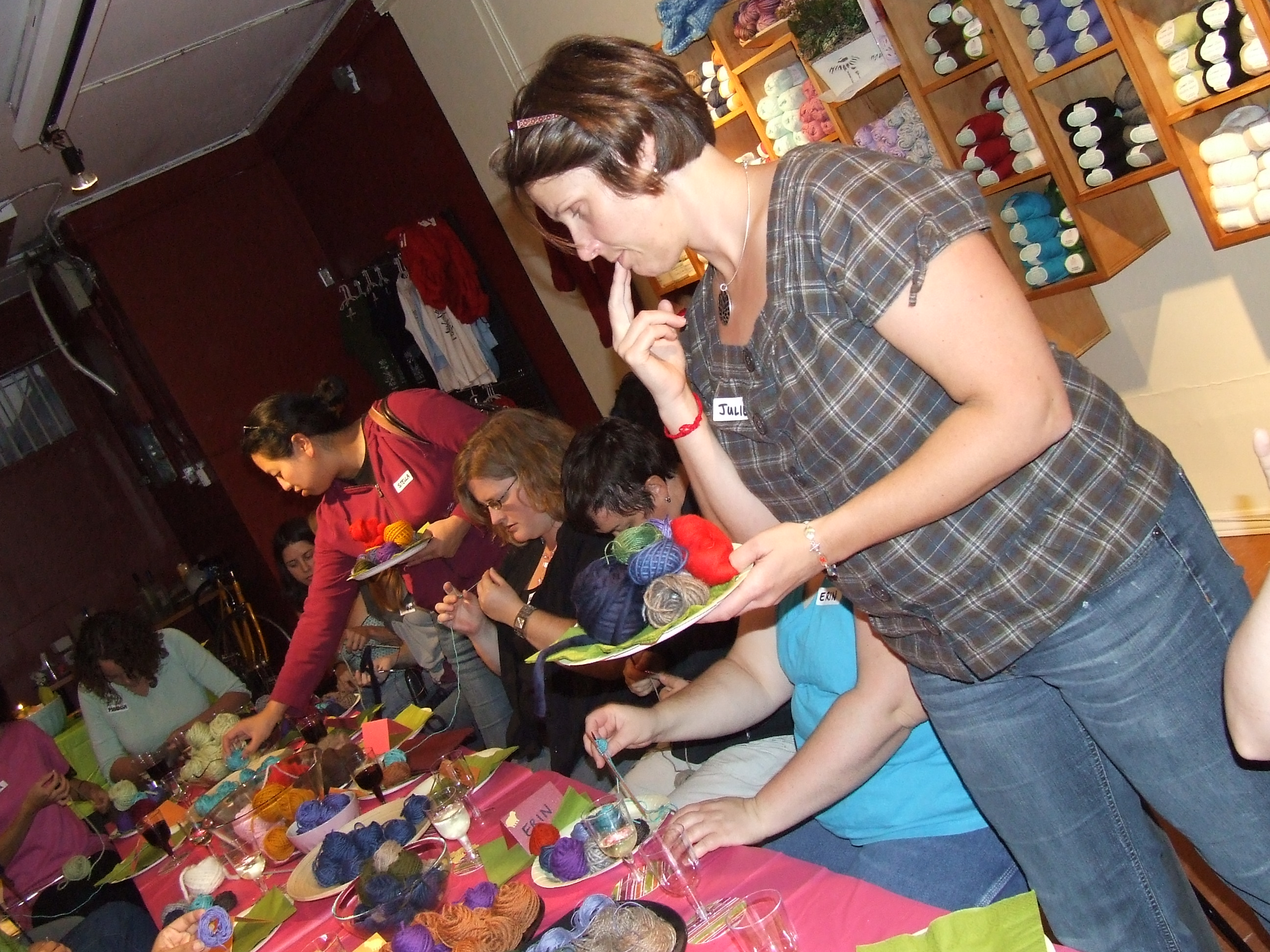 julie deciding which yarn to taste next