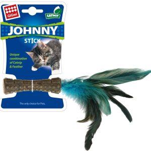 BAASJE-DIERENOPPAS-BOETIEK-GIGIWI_JohnnyStick_NaturalFeather_OnBackcard (2)-catnip/kattenkruid - veren blauw