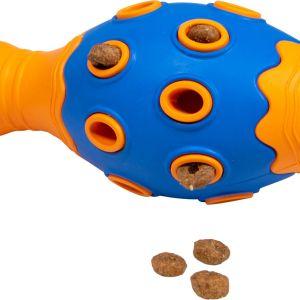 BAASJE-DIERENOPPAS-BOETIEK-JV Toys Rubber Treat Bowling Pin Dark Blue-Orange with Treats-traktatie bowlingkegel - oranje/groen - 15,3 cm