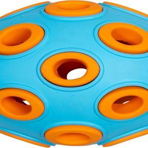 BAASJE-DIERENOPPAS-BOETIEK-JV Toys Rubber Treat Egg Dark Blue-Orange-traktatie eitje - blauw/oranje - 12 cm