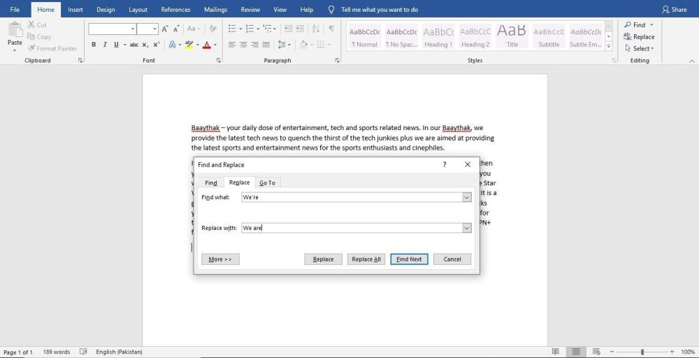 MS Word 2019 Find and Replace Feature