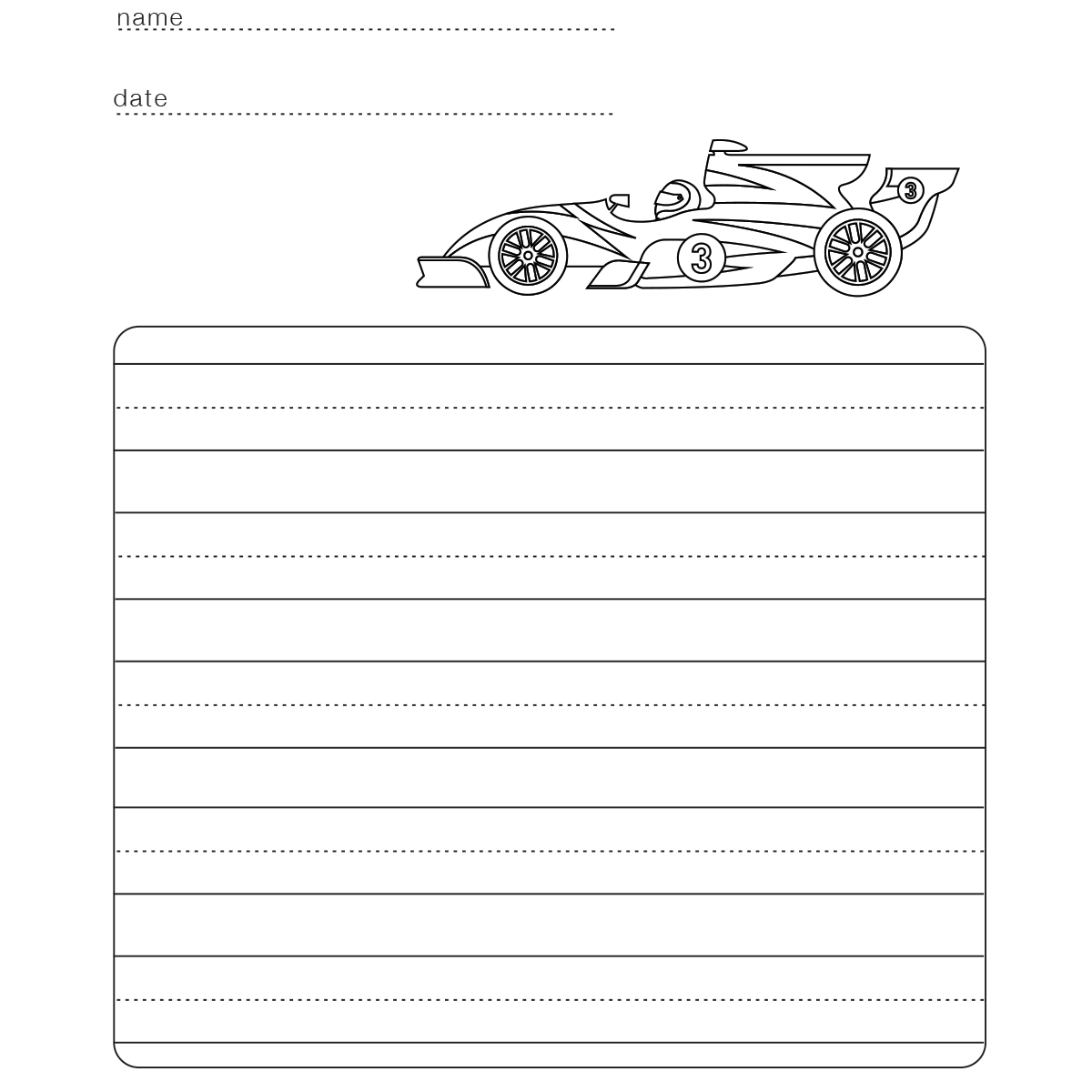 Practice Writing Printable Race Car Babadoodle