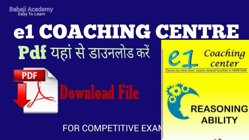 e1 coaching reasoning book pdf