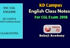 KD Campus English Grammar book Pdf 2019