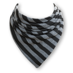 black and grey striped bib