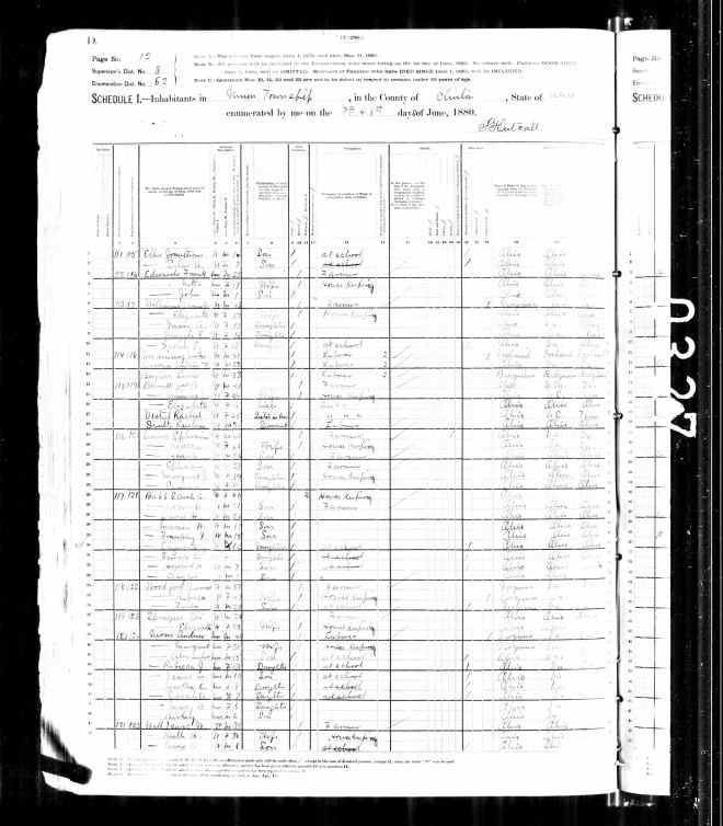 1880 United States Federal Census - Marion Wilson Babb